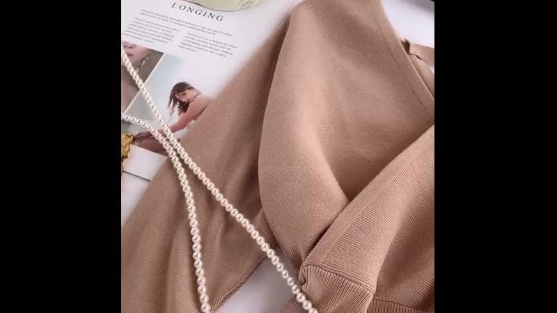 Купить Рубашка. Вязать женский 2019 Хитц темперамент V-образным вырезом мода высокая талия bat рукава был тонкий диких дна рубаш