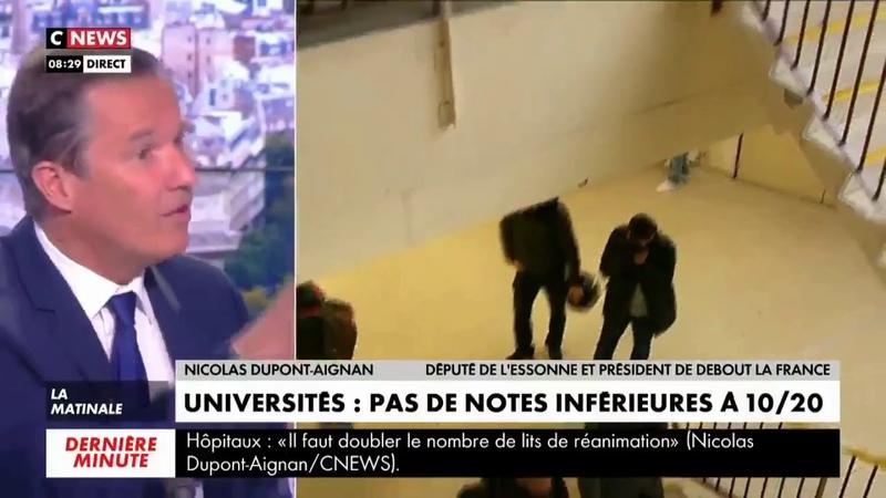 Nicolas Dupont-Aignan sur l'interdiction de mettre des notes inférieurs à 10 : ce sera la faillite