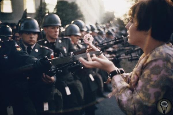 Марк Рибу. Девушка с цветком. Фотография Марка Рибу. Снимок был сделан во время акции протеста против вьетнамской войны. Девушка с цветком в