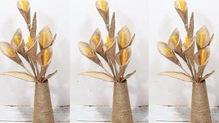 Jute rope craft ideas | Jute flower vase  | Diy home decor 2019