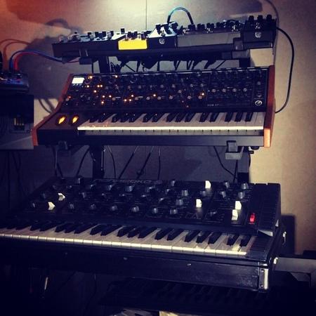 "Marcin Przybyłowicz on Instagram Last night jam @ CD Projekt RED Cyberpunk2077 music soundtrack bts synths synthesizer mescaline moog polivoks"""