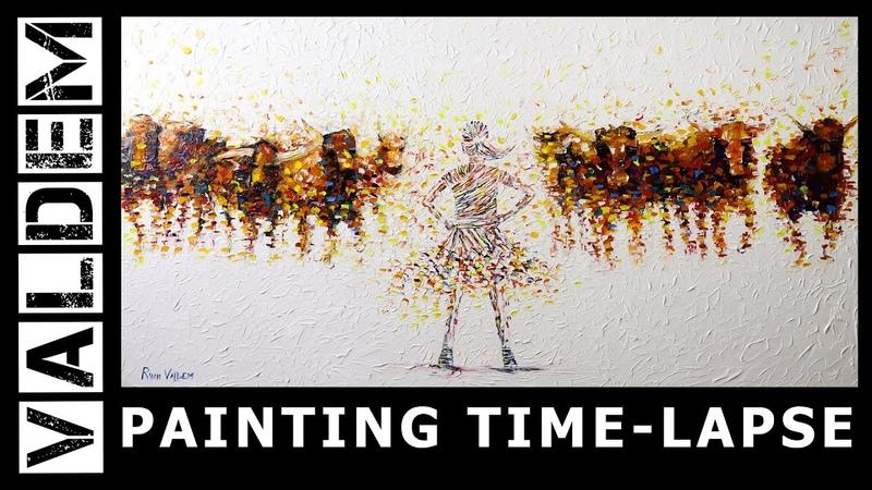 Palette Knife Oil Painting Fearless girl Herd of bulls