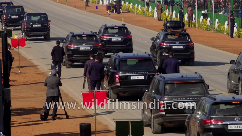 PM Modi's cavalcade arrives at Republic Day Final 2020 Range Rover Toyota Fortuner Scorpio