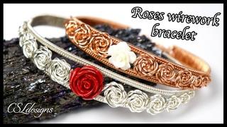 Graduated roses wirework bracelet