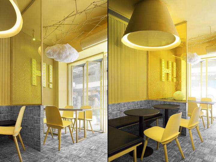 Игра цвета в интерьере кафе HI-HOP