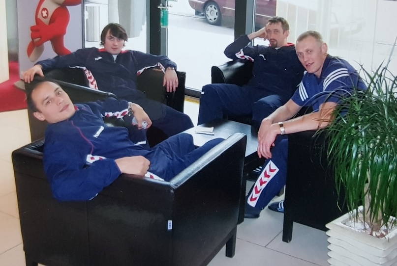 С партнерами по сборной Украины Юрием Петренко, Виталием Натом и Андреем Наталюком