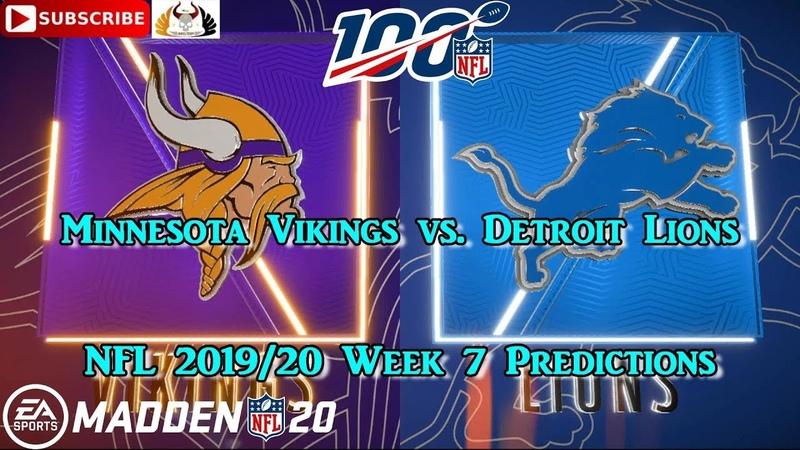 Minnesota Vikings vs. Detroit Lions | NFL 2019-20 Week 7 | Predictions Madden NFL 20