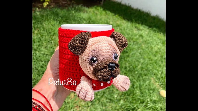 Como tejer aplicación perro pug amigurumis by Petus English subtitles