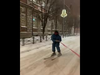 Лыжник-зацепер в Липецке