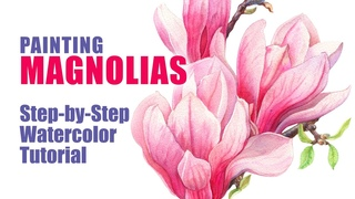 WATERCOLOR MAGNOLIA  🌸  How to Paint Magnolia Flower | Step-by-Step Demo | Materials Overview