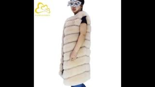 Женский меховой жилет, роскошный теплый меховой жилет из искусственного лисьего меха, зимняя куртка