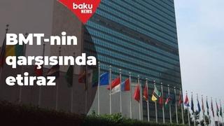 BMT-nin qarşısında ermənilərin mina xəritələrini verməməsinə etiraz - Baku TV
