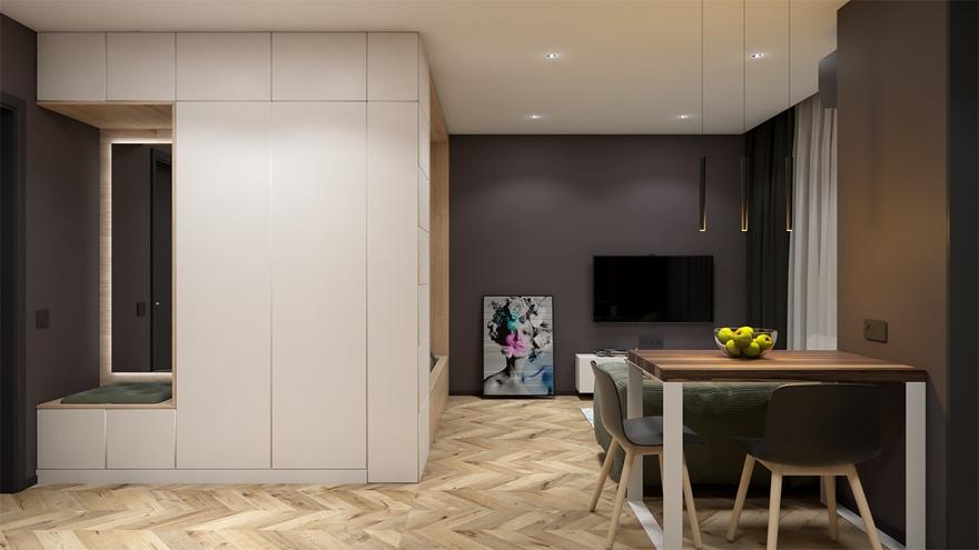Концепт квартиры-студии 28,4 м (с лоджией - 32 м).