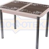 Стол кухонный Каппа ПР ВП МД 02 пл 44, молочный дуб, коричневая плитка с сакурой