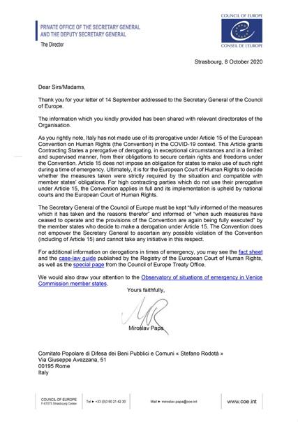CEDU sulla sospensione dei Diritti Fondamentali in Italia