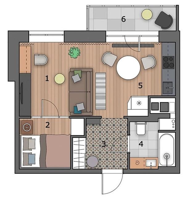 Реализованный проект: дизайн квартиры 35 кв.