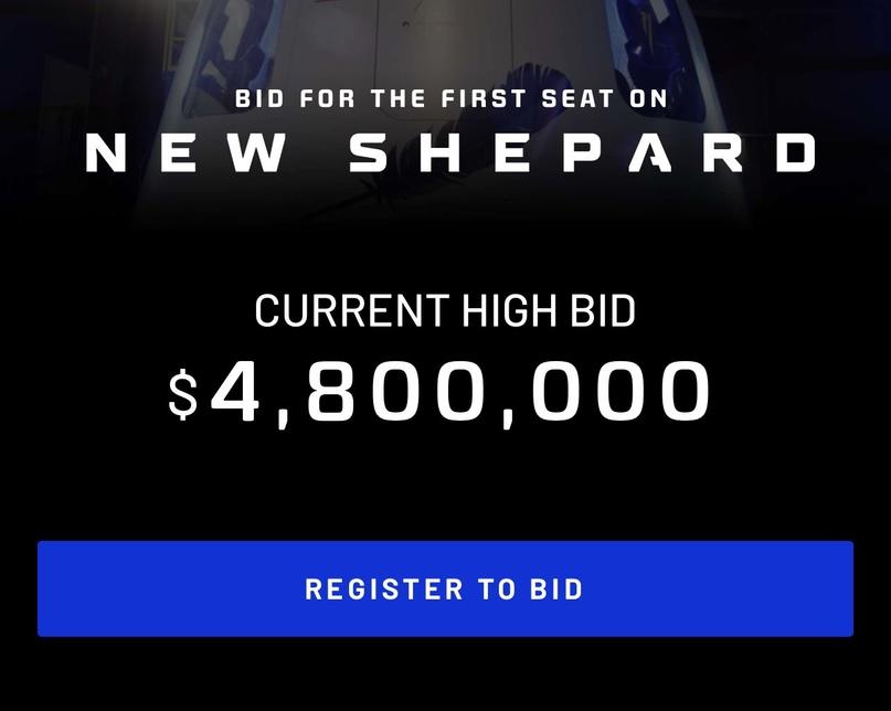 New space: 12 июня Blue Origin проведут аукцион по розыгрышу одного места на первый полёт c людьми 💰