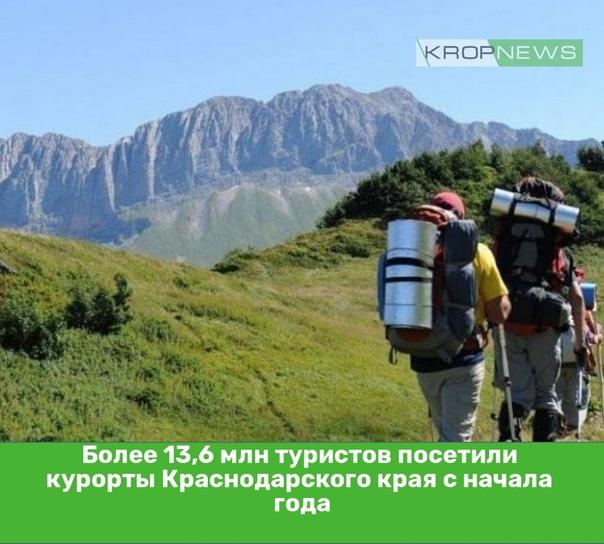 Более 13,6 млн туристов посетили курорты Краснодар...