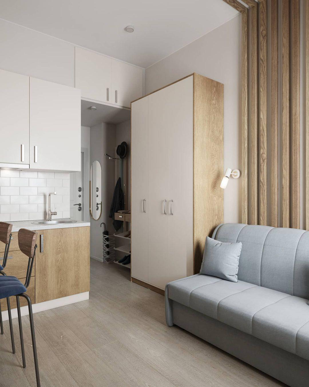 Проект маленькой гостевой студии всего 14 кв.