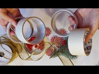 3 ИДЕИ поделок ИЗ БОБИН скотча своими руками DIY Подарки на Новый год.украшение дома декор diy