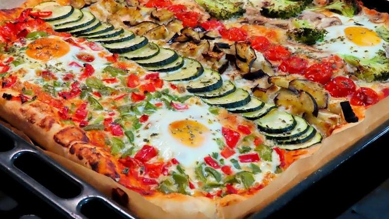 Pizza vegetariana desde cero con masa casera. Saludable y deliciosa.