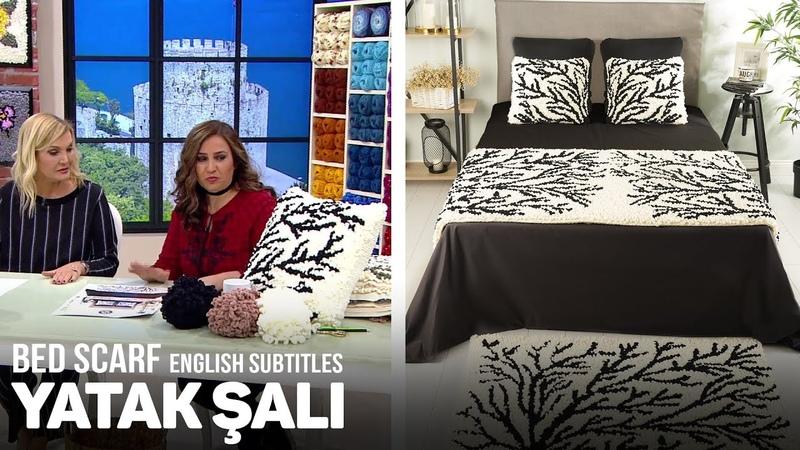 Yatak Şalı Yastık ve Halı Yapımı Bed Scarf Cushion and Rug with Alize Puffy Fine Tutorial