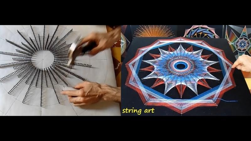 String art boceto o diseño obra 41 estrellas concentricas jorge de la tierra