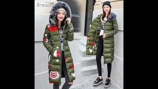 Brieuces 2020 зимнее женское пальто с капюшоном с меховым воротником утолщенная теплая длинная куртка женская размера плюс 3xl