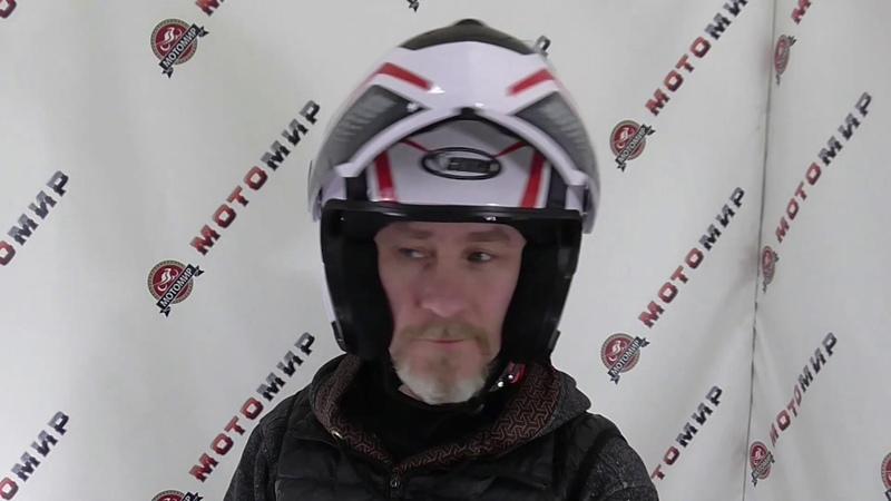 Шлем модуляр COBRA JK115 белый с красным и черным