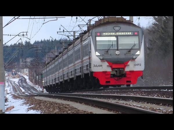 Электропоезд ЭД4М 0492 ЦППК перегон Бекасово 1 Селятино 15 03 2020