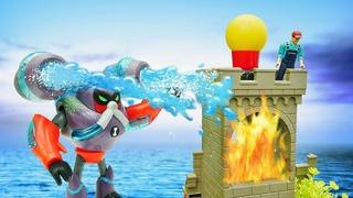 БЕН 10 игры битвы - Водохлёст тушит пожар на маяке! Бен Тен против злодеев! - Супергерои видео игры