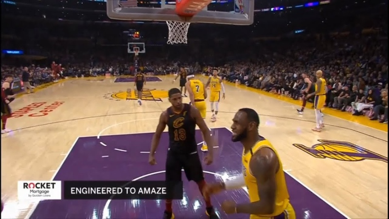 Tristan Thompson dunks and staredowns LeBron - Cavaliers vs Lakers